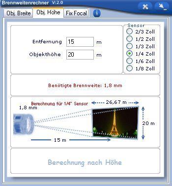Vorschau Brennweitenrechner - Bild 2