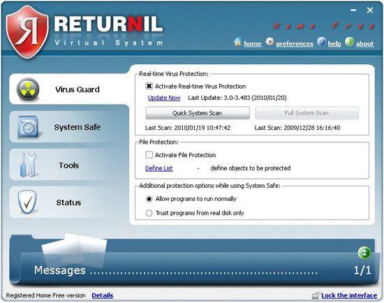 Vorschau Returnil Virtual System 2011 Home Free - Bild 2