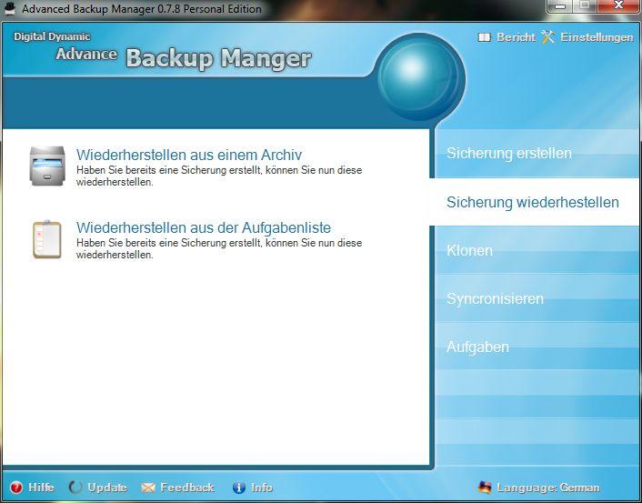 Vorschau Advanced Backup Manager - Bild 2