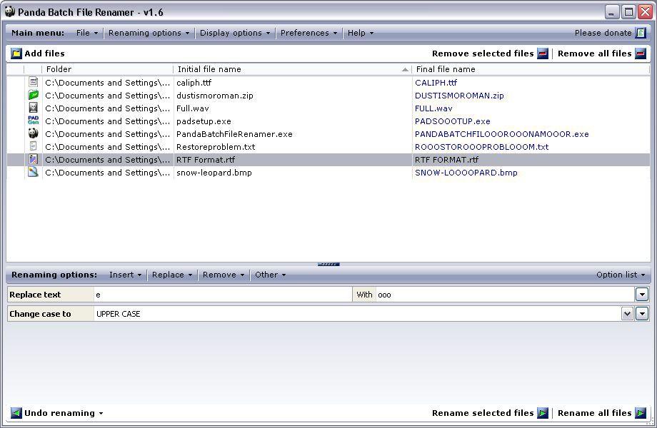 Vorschau Panda Batch File Renamer - Bild 2