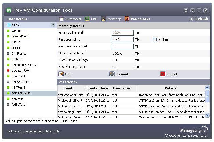 Vorschau Free ManageEngine VM Configuration Tool - Bild 2