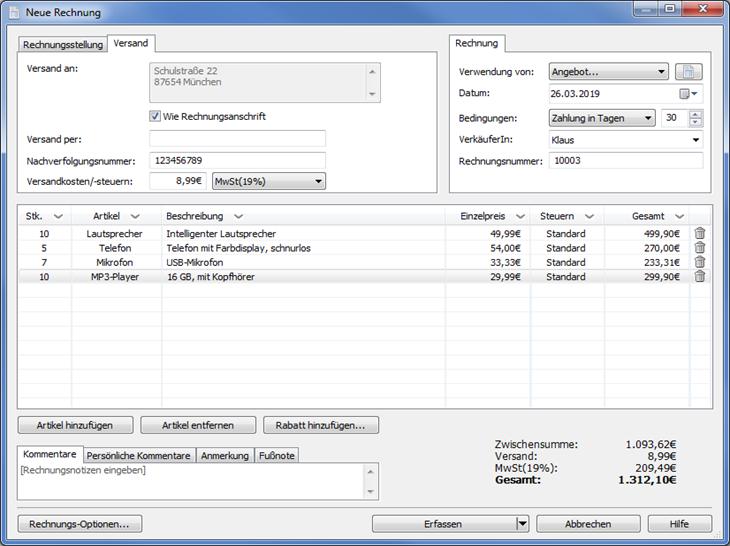 Vorschau Express Invoice Rechnungsprogramm - Bild 2