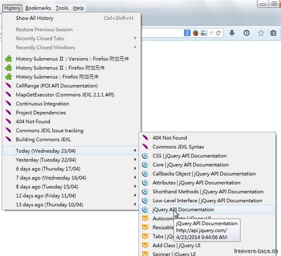 Vorschau History Submenus for Firefox - Bild 2