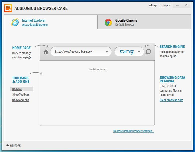 Vorschau Auslogics Browser Care - Bild 2