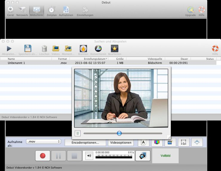 Vorschau Debut Video-Aufnahme-Programm Mac - Bild 2