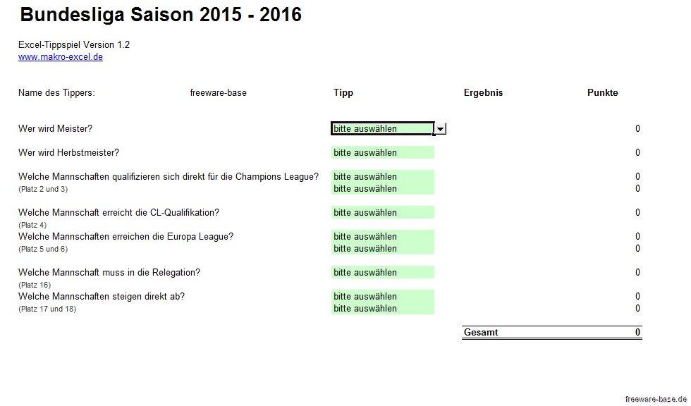 Vorschau Fussball Bundesliga Excel Tippspiel Saison 2015-2016 - Bild 2