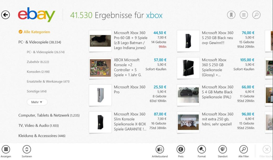 Vorschau eBay fuer Windows 8 und 10 App - Bild 2