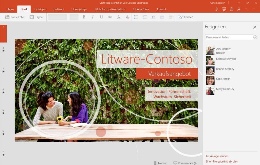 Vorschau PowerPoint Mobile fuer Windows 10 App - Bild 2