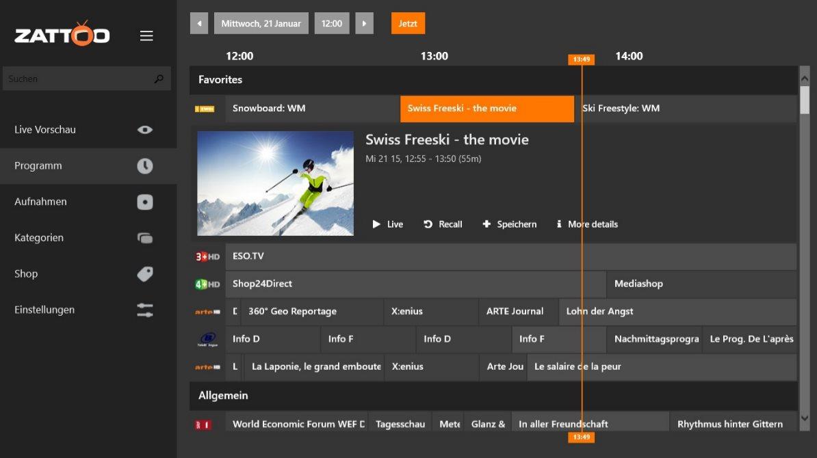 Vorschau Zattoo Live TV fuer Windows 8 und 10 App - Bild 2