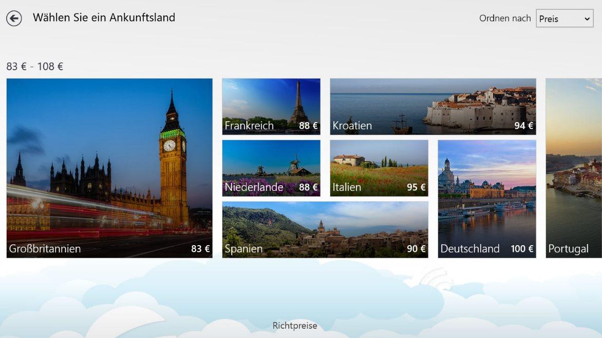 Vorschau Skyscanner für Windows 8 und 10 - Bild 2