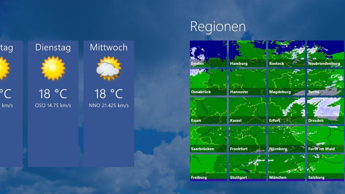 Vorschau Niederschlagsradar fuer Windows 8 und 10 - Bild 2