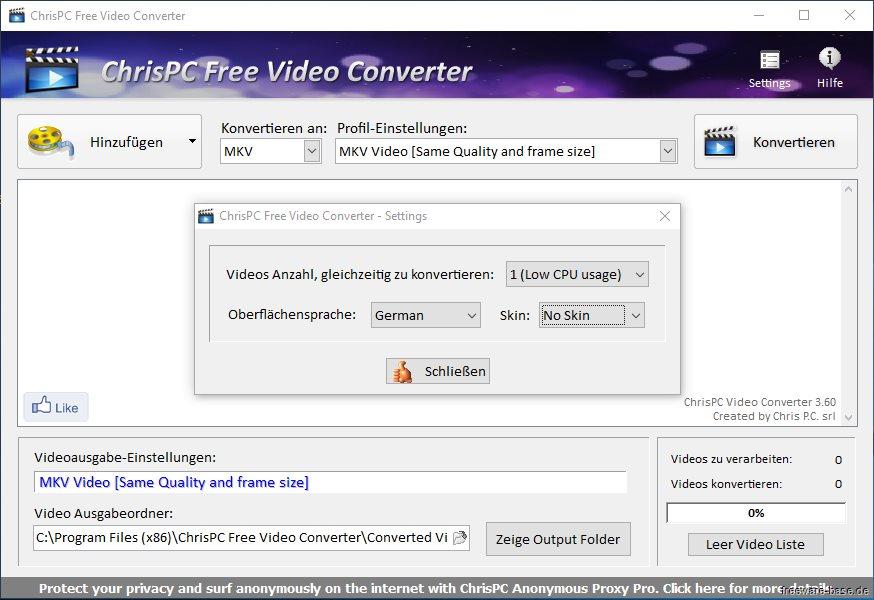 Vorschau ChrisPC Free Video Converter - Bild 2