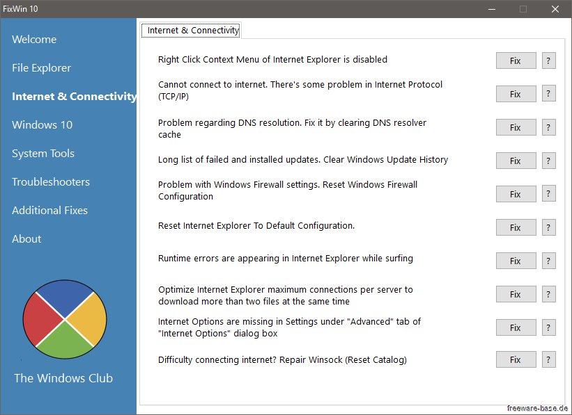 Vorschau FixWin 10 für Windows 10 - Bild 2