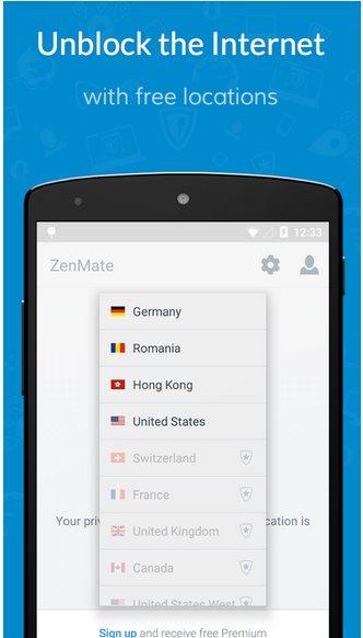 Vorschau ZenMate Security und Privacy VPN für Android - Bild 2