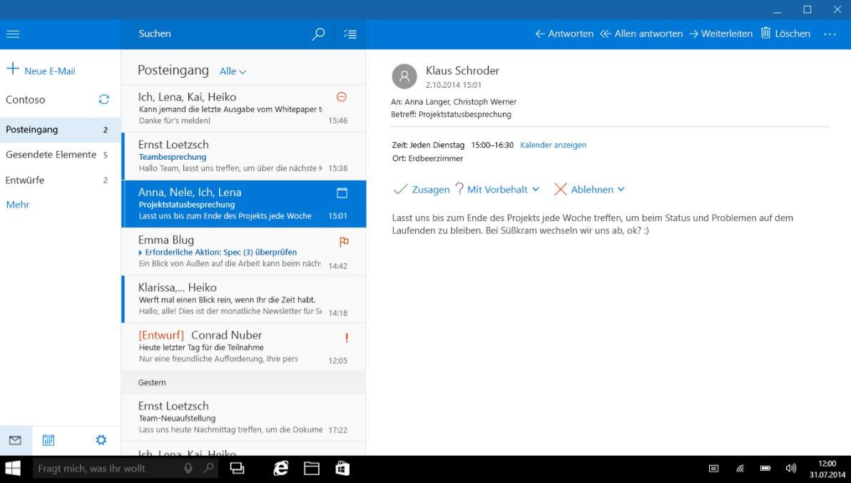 Vorschau Mail Kalender und Kontakte für Windows 8 und 10 - Bild 2