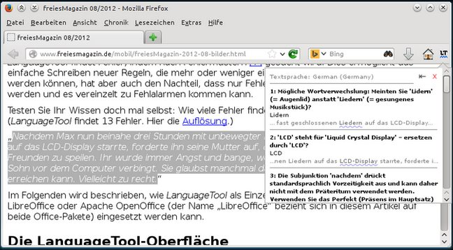 Vorschau LanguageToolFx - Stil- und Grammatikprüfung für Firefox - Bild 2