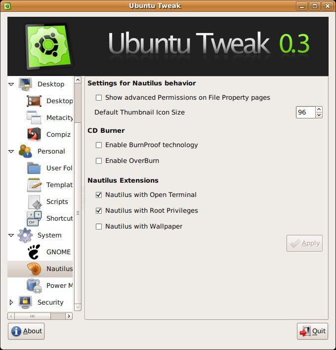Vorschau Ubuntu Tweak - Bild 3