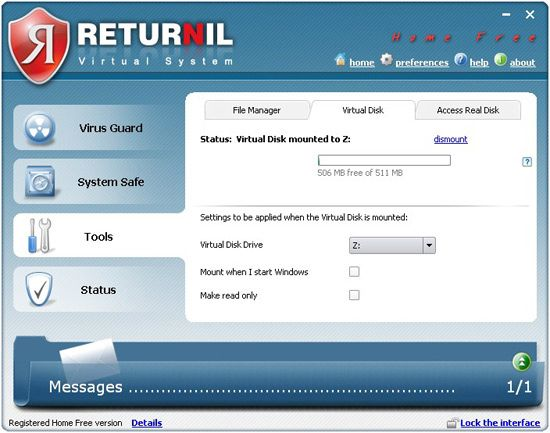 Vorschau Returnil Virtual System 2011 Home Free - Bild 3