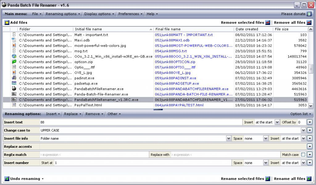 Vorschau Panda Batch File Renamer - Bild 3