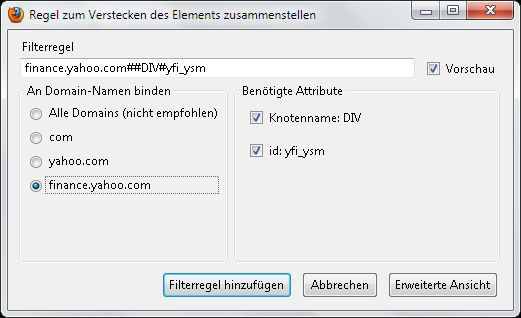 Vorschau Element Hiding Helper for Adblock Plus - Bild 3