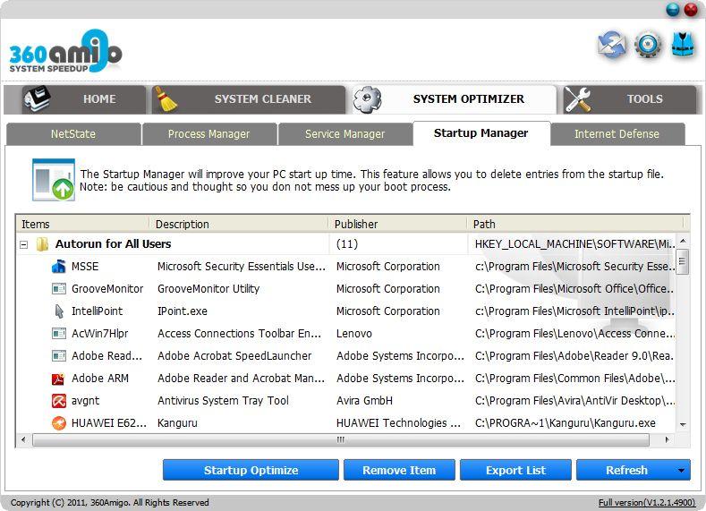 Vorschau 360Amigo System Speedup Free - Bild 3