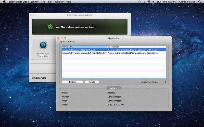 Vorschau Bitdefender Virus Scanner for Mac - Bild 3