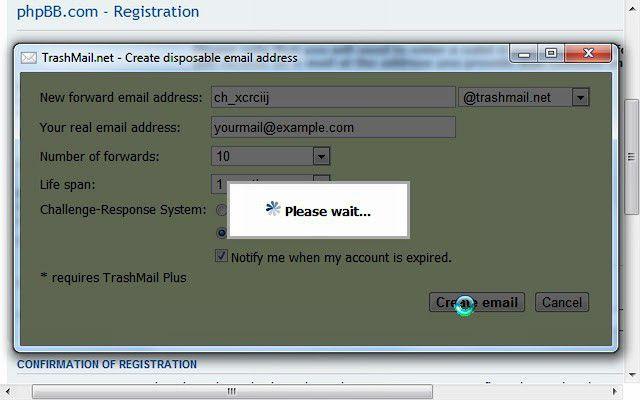 Vorschau TrashMail.net for Chrome - Bild 3