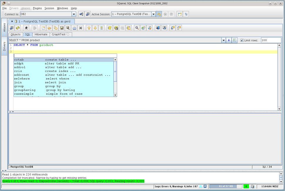 Vorschau SQuirrel SQL Client - Bild 3