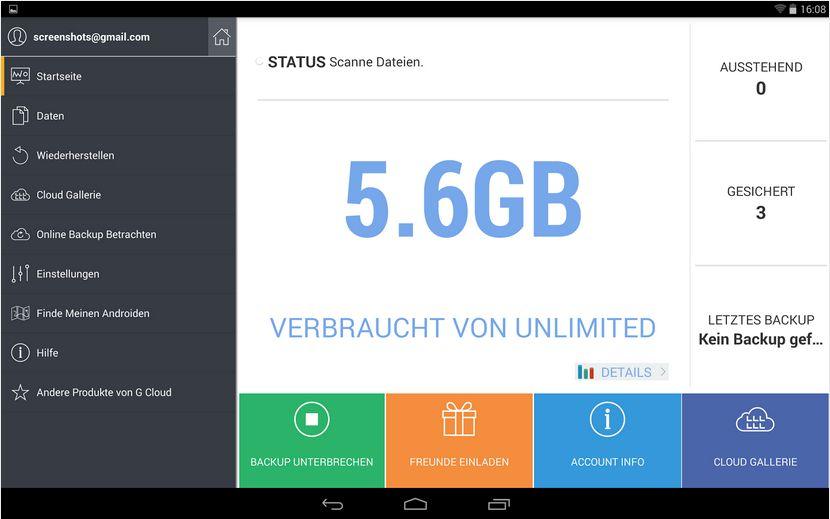 Vorschau G Cloud Backup für Android - Bild 3