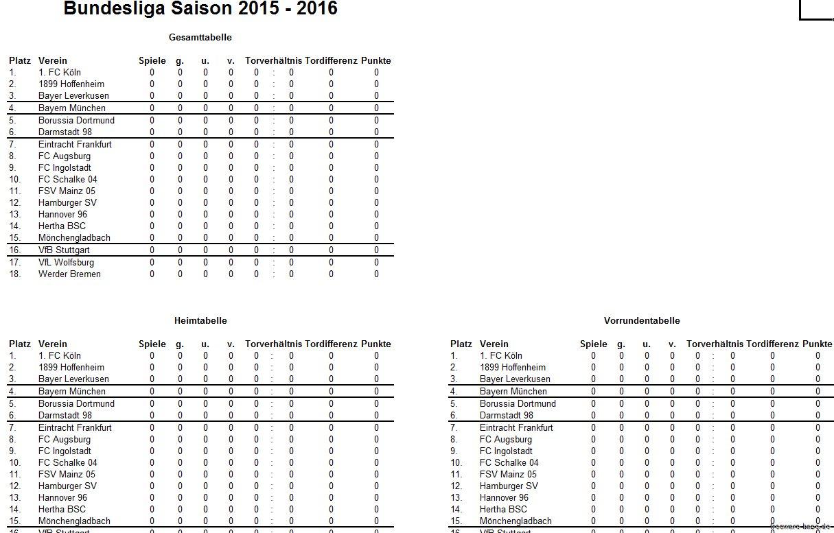 Vorschau Fussball Bundesliga Excel Tippspiel Saison 2015-2016 - Bild 3