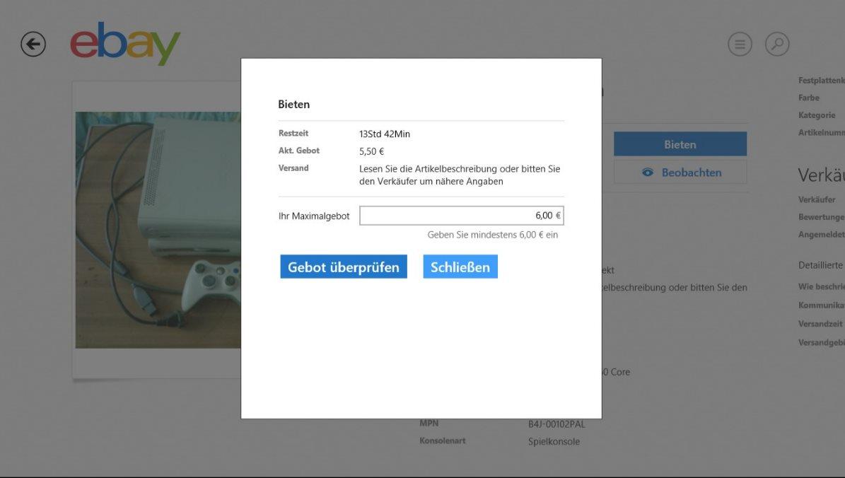 Vorschau eBay fuer Windows 8 und 10 App - Bild 3