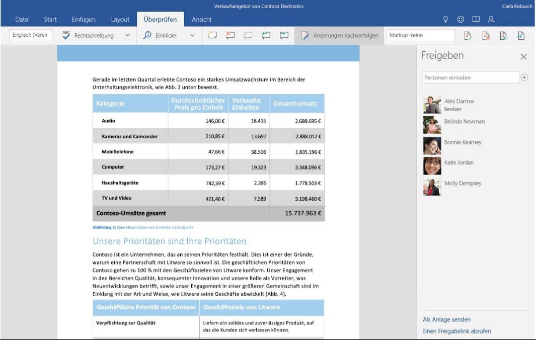 Vorschau Word Mobile fuer Windows 10 App - Bild 3