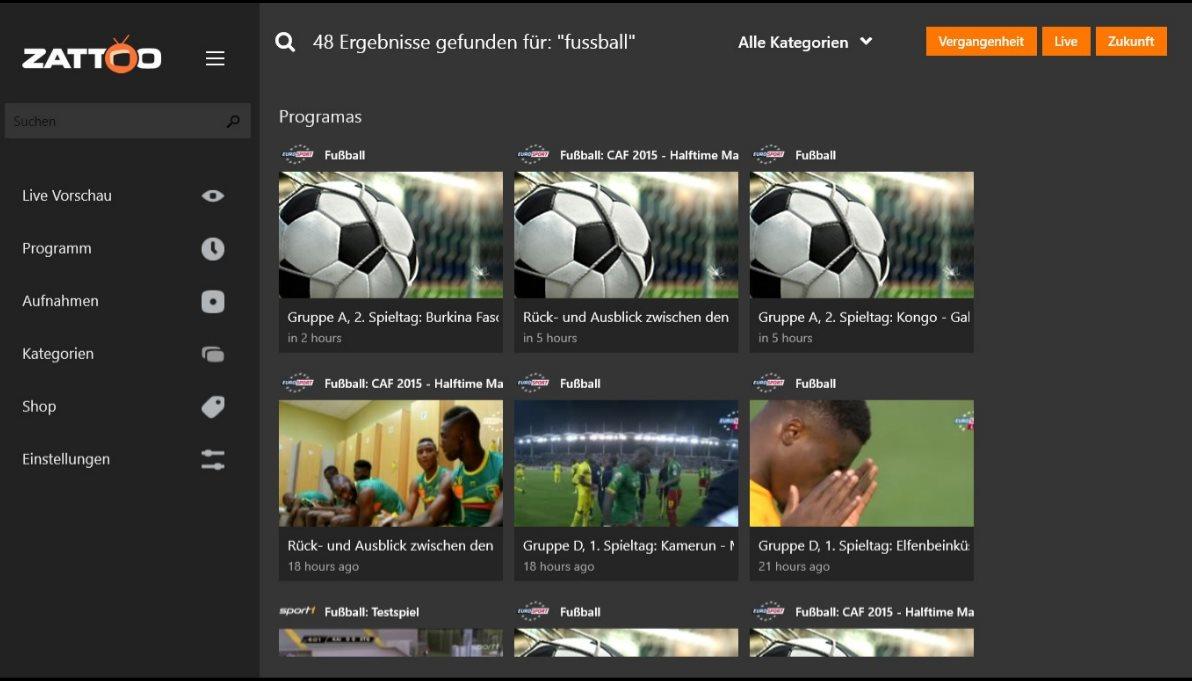 Vorschau Zattoo Live TV fuer Windows 8 und 10 App - Bild 3