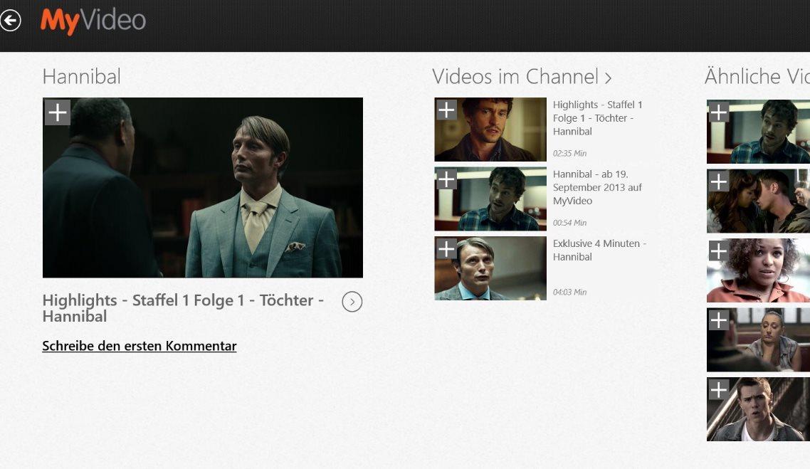 Vorschau MyVideo fuer Windows 8 und 10 - Bild 3