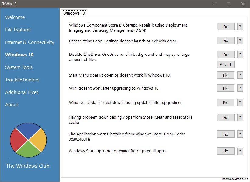 Vorschau FixWin 10 für Windows 10 - Bild 3