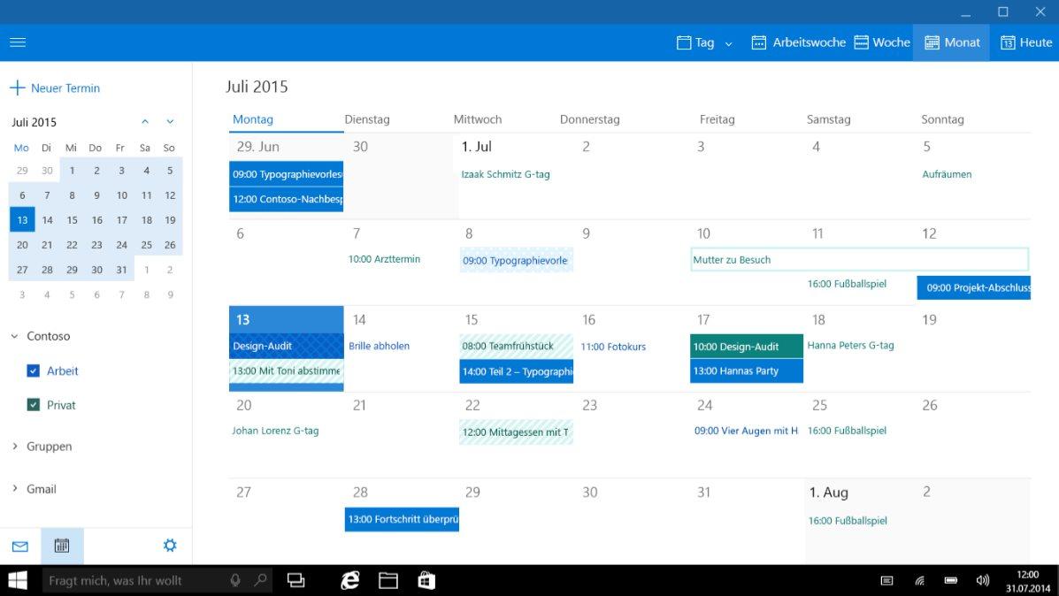 Vorschau Mail Kalender und Kontakte für Windows 8 und 10 - Bild 3