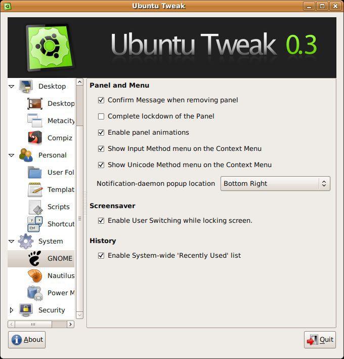 Vorschau Ubuntu Tweak - Bild 4