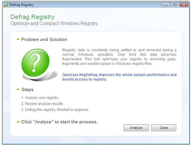 Vorschau Quicksys RegDefrag Portable Version - Bild 4