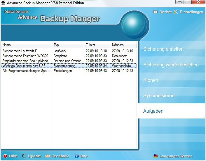 Vorschau Advanced Backup Manager - Bild 4