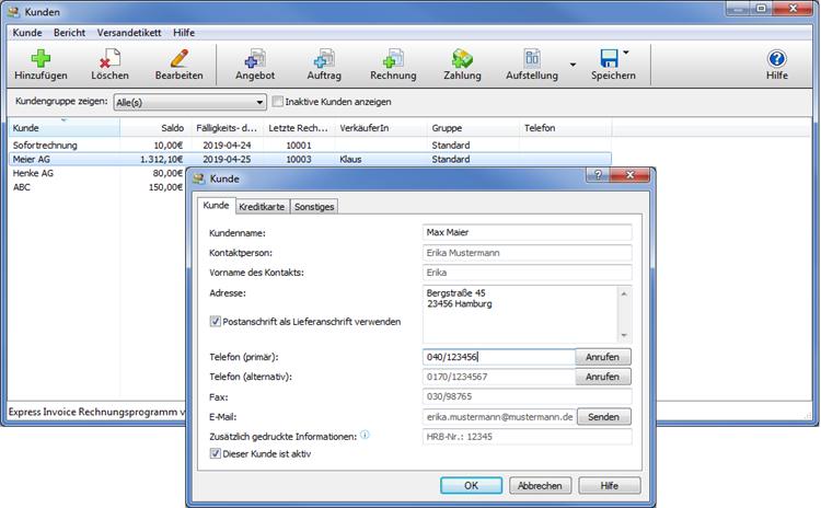 Vorschau Express Invoice Rechnungsprogramm - Bild 4
