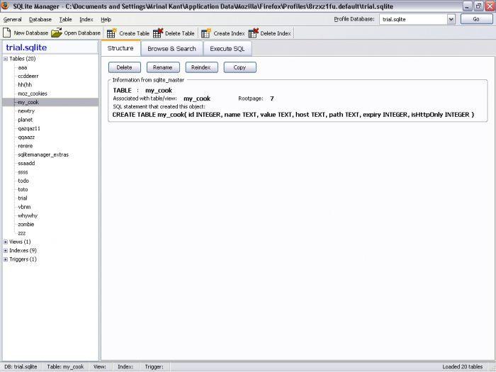 Vorschau SQLite Manager for Firefox - Bild 4