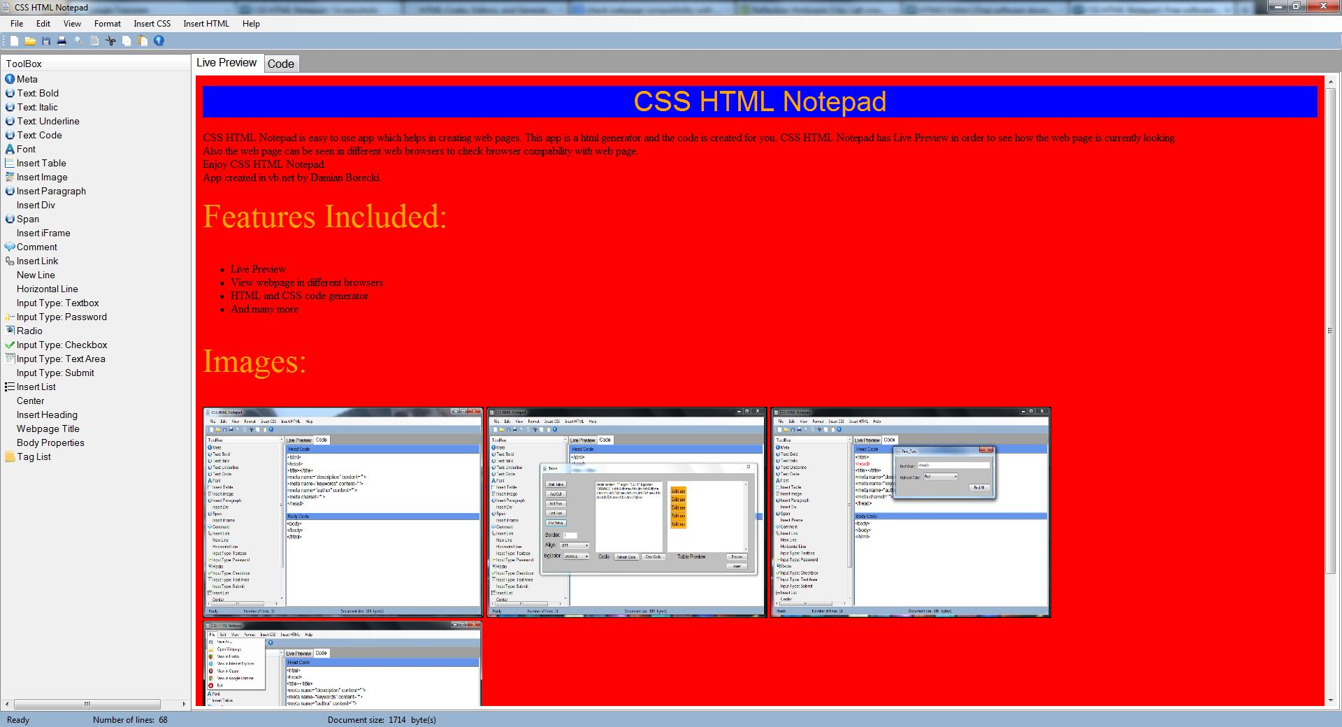 Vorschau CSS HTML Notepad - Bild 4