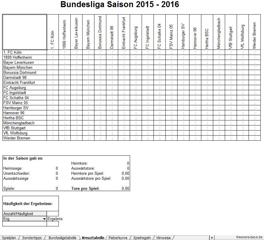 Vorschau Fussball Bundesliga Excel Tippspiel Saison 2015-2016 - Bild 4