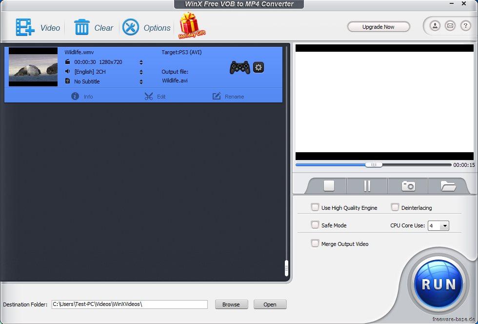 Vorschau WinX Free VOB to MP4 Converter - Bild 4