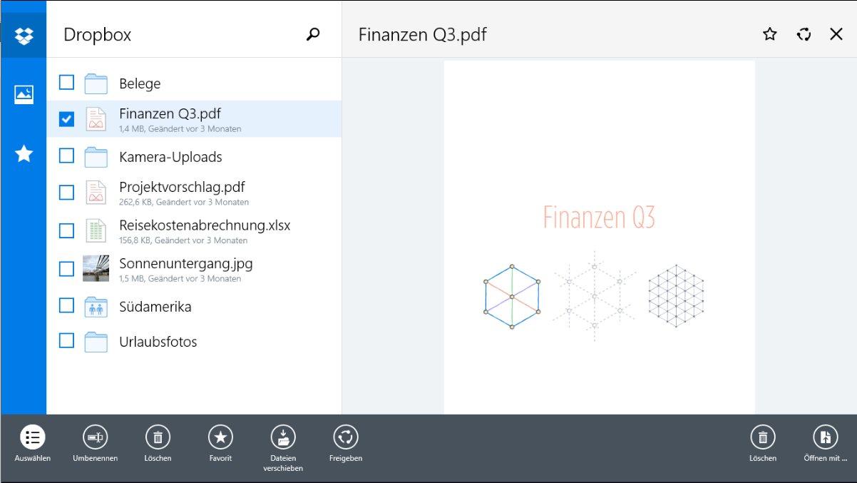 Vorschau Dropbox fuer Windows 8 und 10 App - Bild 4