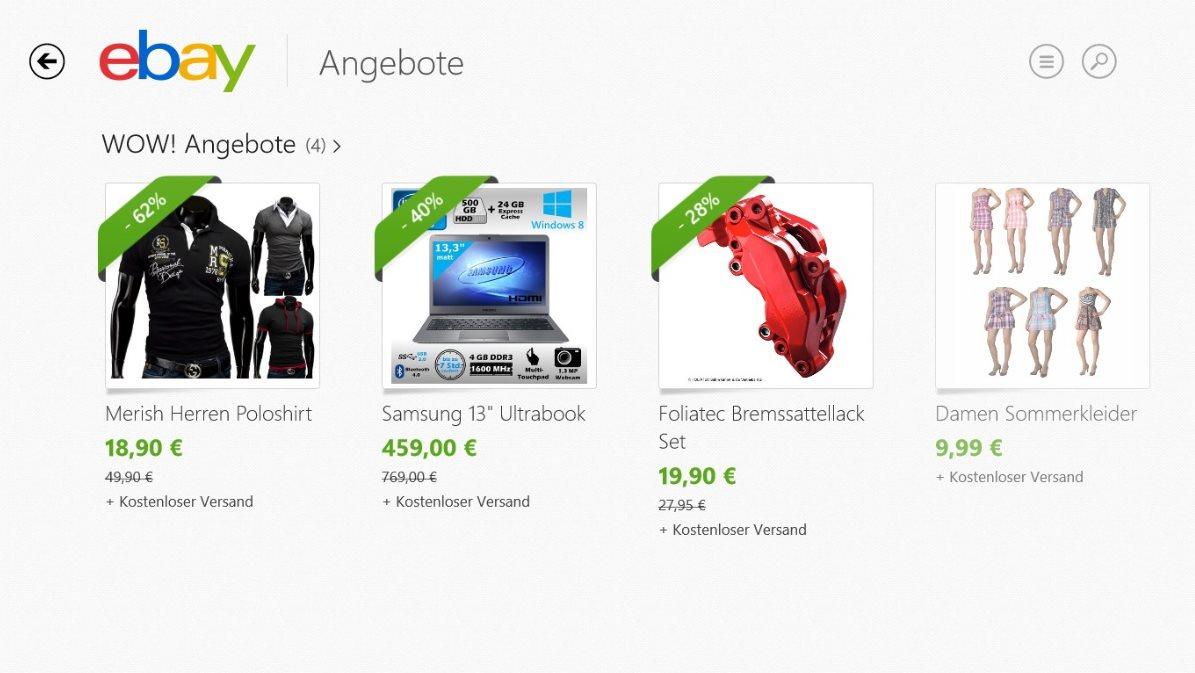 Vorschau eBay fuer Windows 8 und 10 App - Bild 4