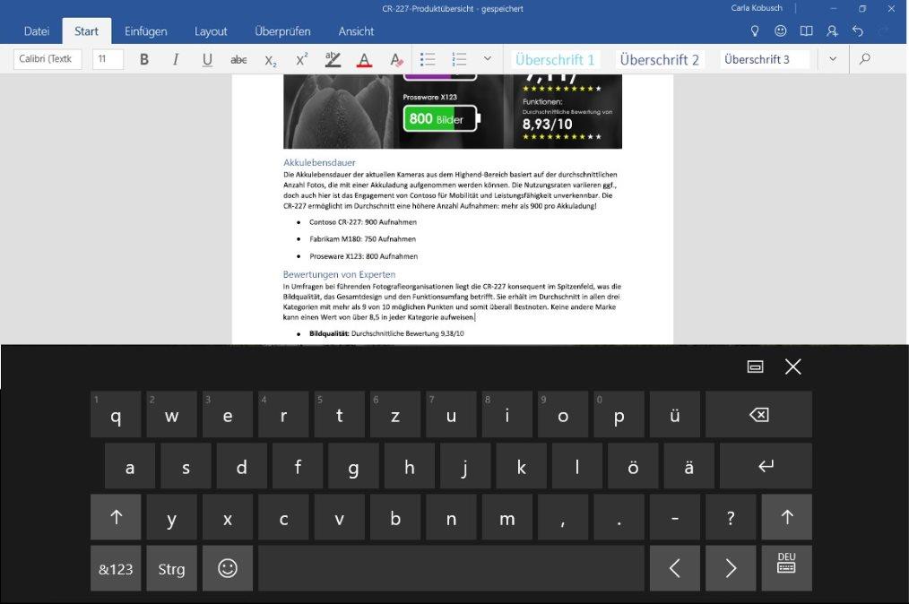 Vorschau Word Mobile fuer Windows 10 App - Bild 4