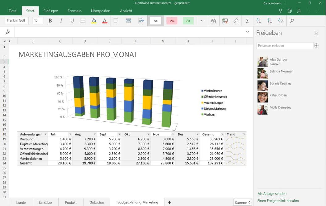Vorschau Excel Mobile fuer Windows 10 App - Bild 4