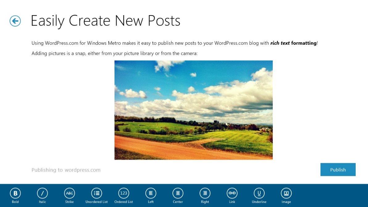 Vorschau Wordpress fuer Windows 8 und 10 - Bild 4