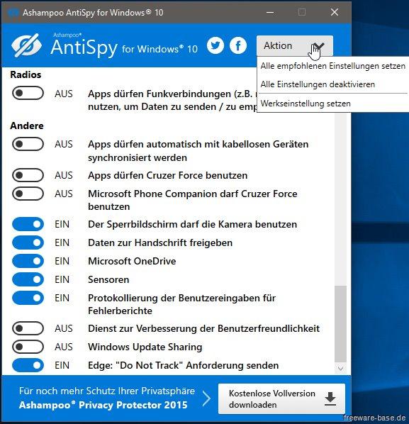 Vorschau Ashampoo Antispy für Windows 10 - Bild 4